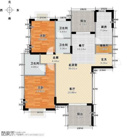 太湖国际社区2室2厅2卫0厨106.00㎡户型图