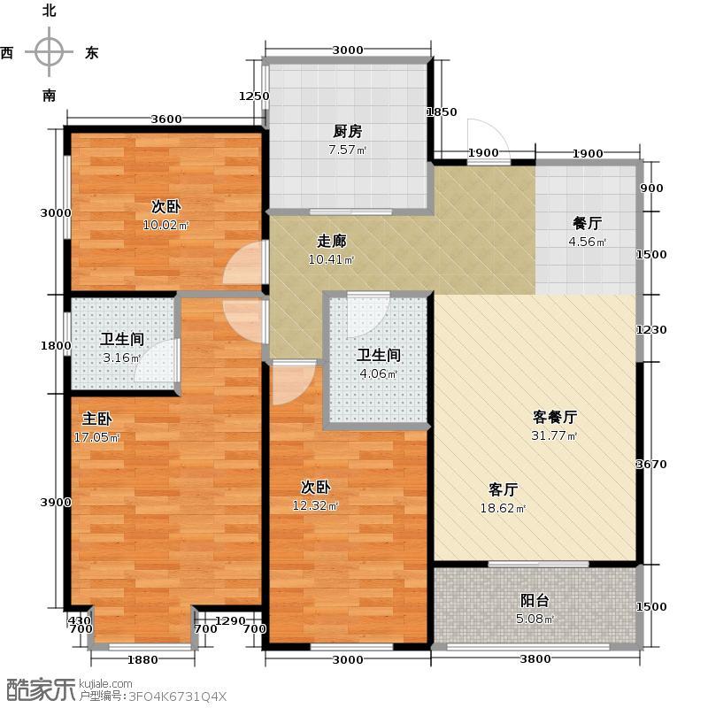 宏府�翔九天118.30㎡一号楼07户型3室2厅2卫