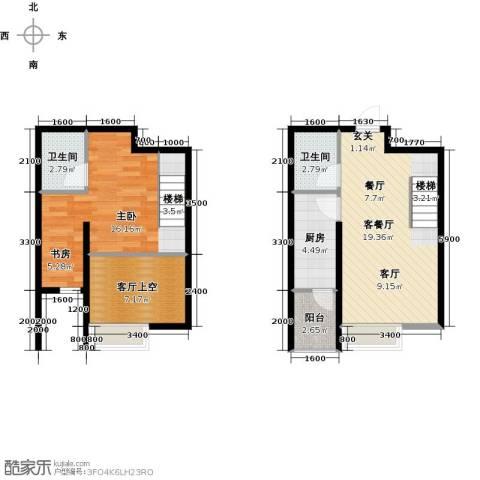 丽都新城二期爱丽香舍1室1厅2卫0厨70.00㎡户型图