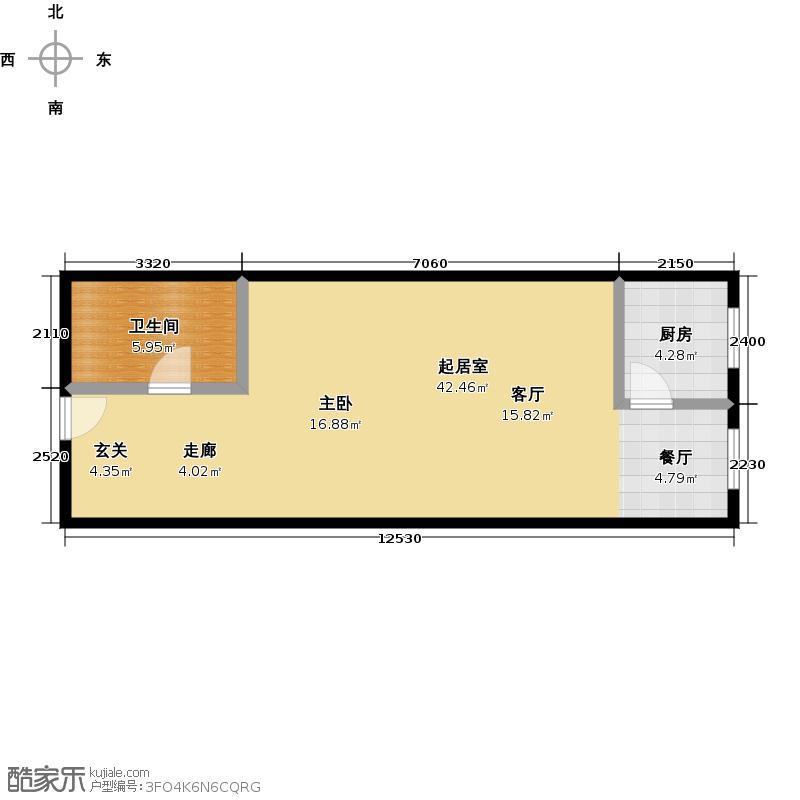 乐府国际公寓57.77㎡A3户型1室1厅1卫