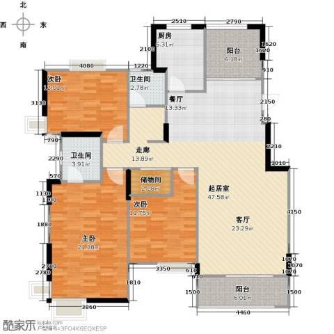 太湖国际社区3室2厅2卫0厨140.00㎡户型图