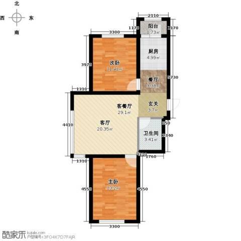 韩建大成府2室2厅1卫0厨83.00㎡户型图