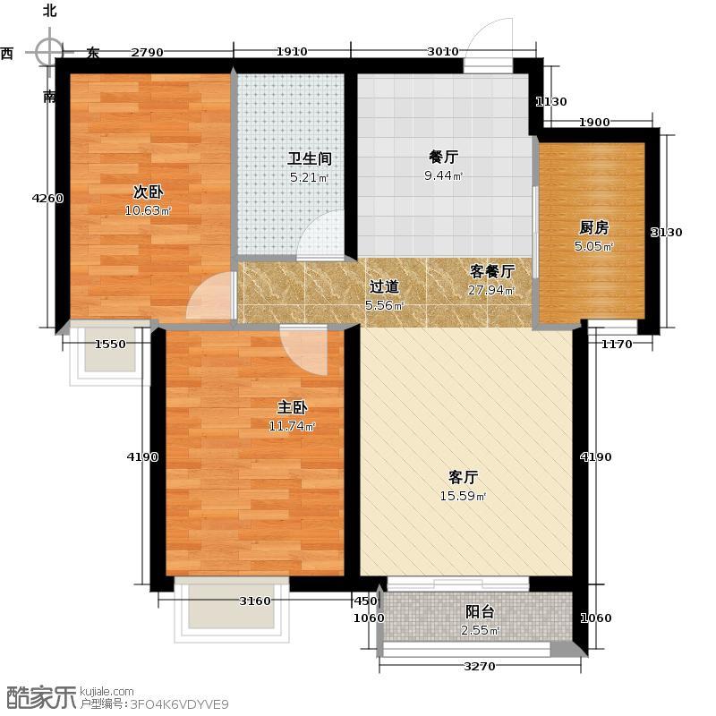 大连海湾城88.24㎡户型2室2厅1卫