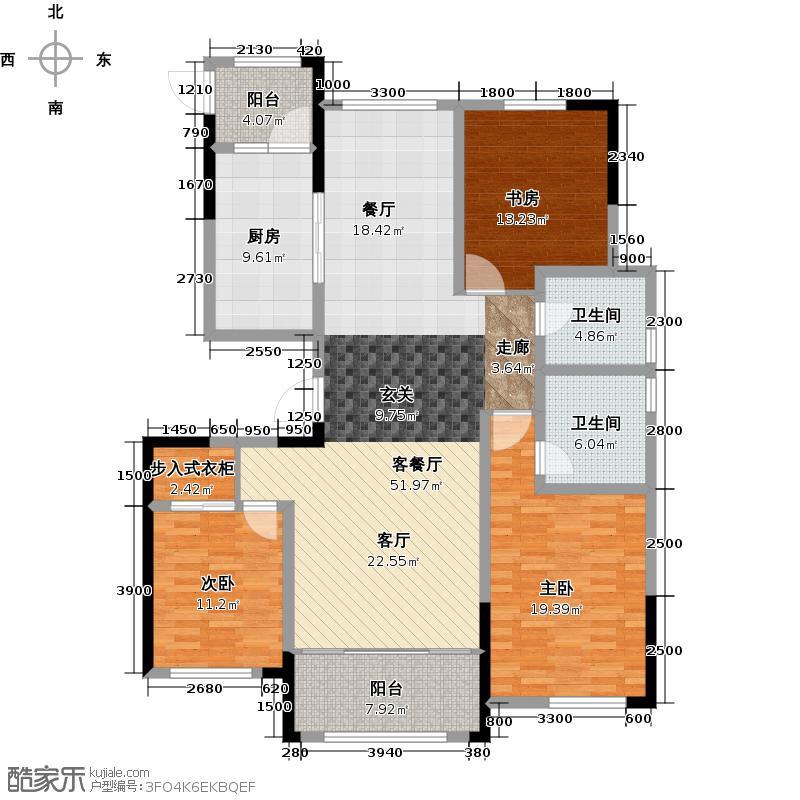 鲁商蓝岸丽舍146.00㎡高层M1户型3室2厅2卫