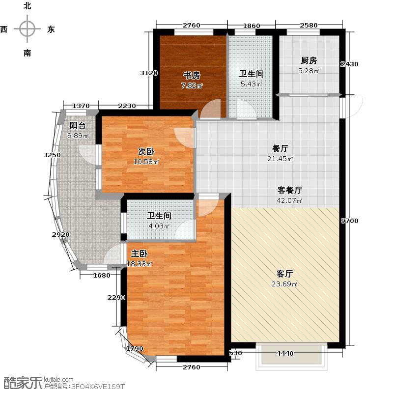 大连海湾城133.11㎡户型3室2厅2卫