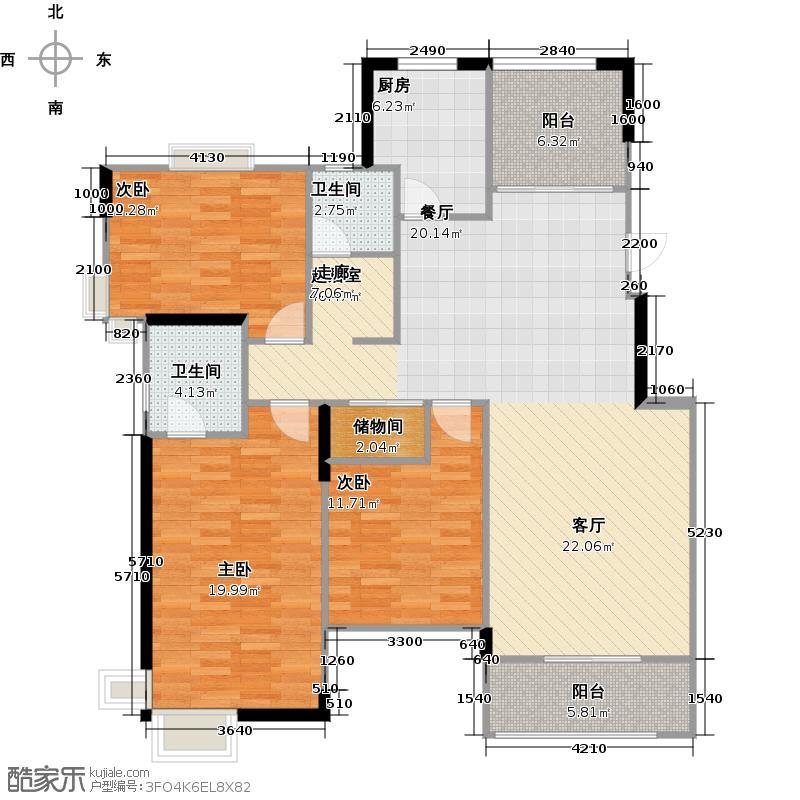 太湖国际社区137.92㎡悦湖E户型3室2厅2卫