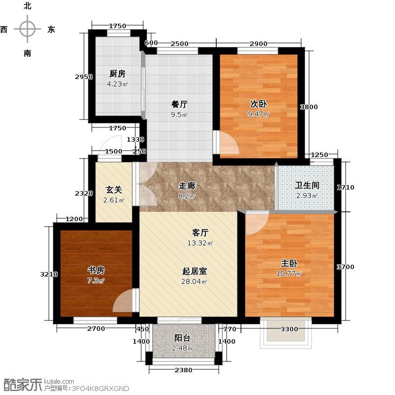 首尔甜城MOBO国际中心78.47㎡洋房户型3室2厅1卫