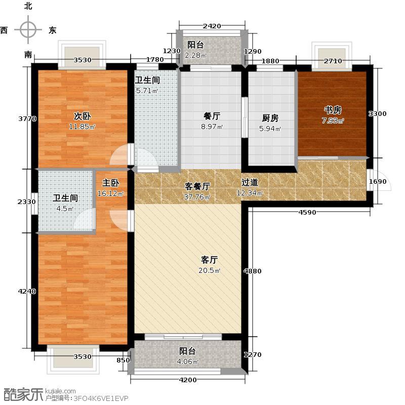大连海湾城109.39㎡户型3室2厅2卫