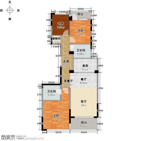 绿城玉兰花园3室2厅2卫0厨118.00㎡户型图