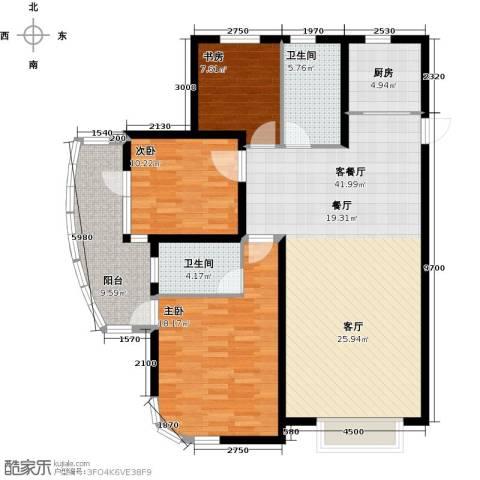 大连海湾城3室2厅2卫0厨144.00㎡户型图