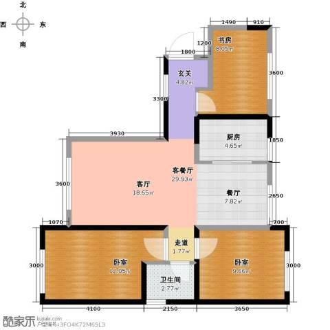 华茂中心3室2厅1卫0厨98.00㎡户型图