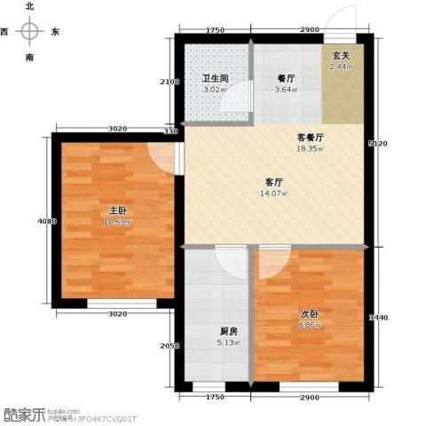 韩建大成府2室2厅1卫0厨67.00㎡户型图
