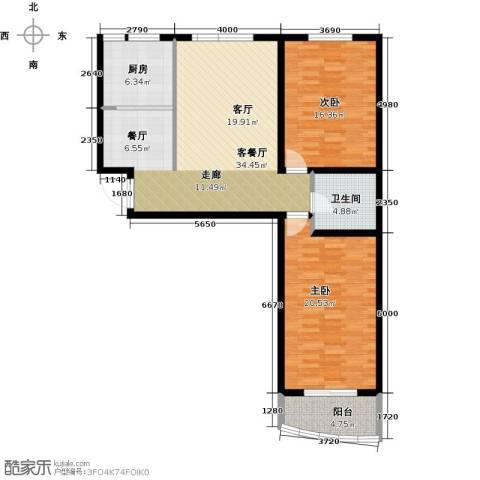 绿都皇城2室2厅1卫0厨98.00㎡户型图