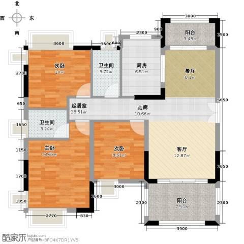 远洋城天祺3室2厅2卫0厨120.00㎡户型图