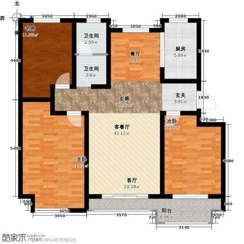 达美水岸3室2厅1卫0厨117.00㎡户型图