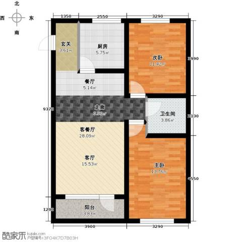 韩建大成府2室2厅1卫0厨91.00㎡户型图