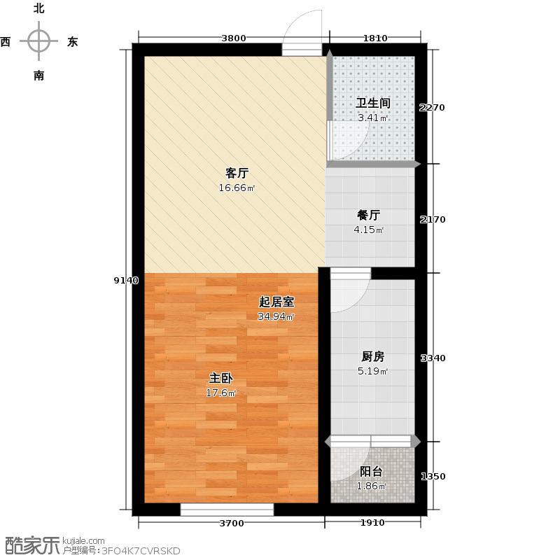 韩建大成府56.07㎡3号楼C户型1室2厅1卫