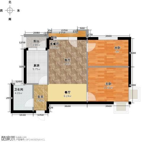 万棵树2室2厅1卫0厨80.00㎡户型图