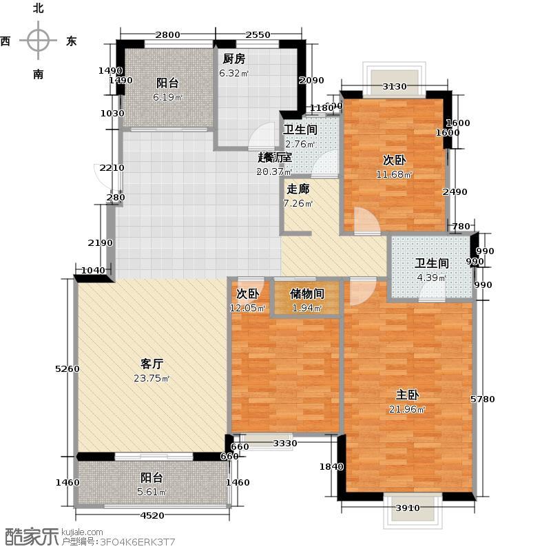 太湖国际社区142.38㎡悦湖B1户型3室2厅2卫