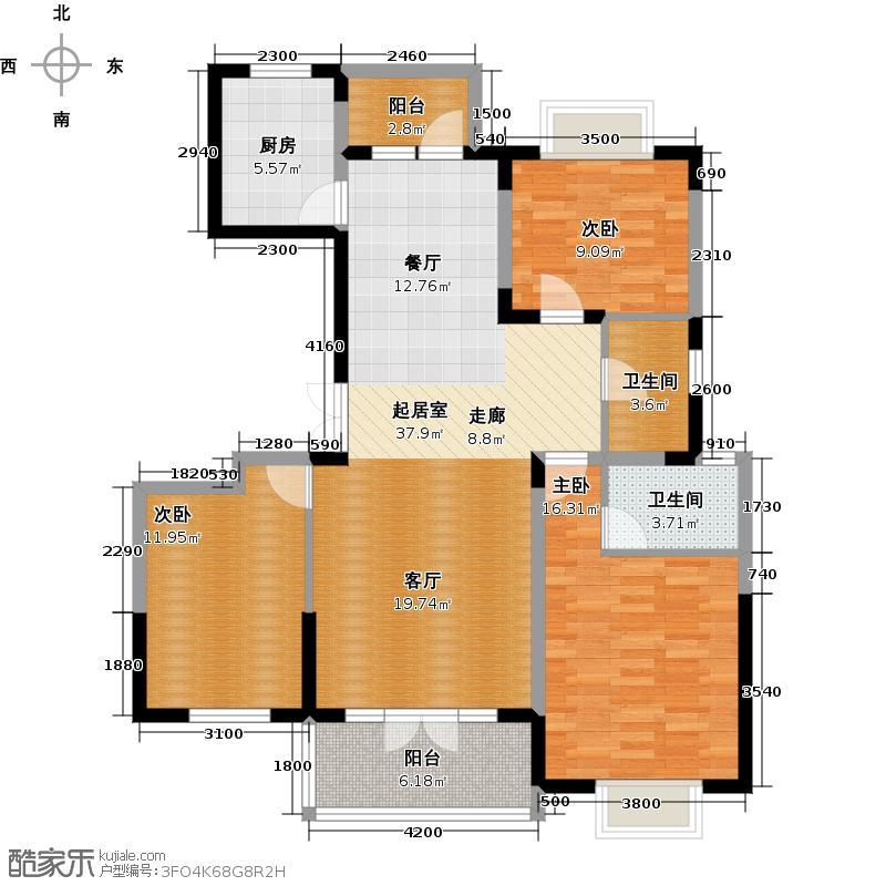 中国铁建山语城123.21㎡B户型10室