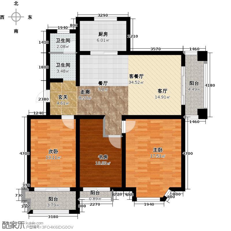 达美水岸118.00㎡D5户型3室2厅1卫