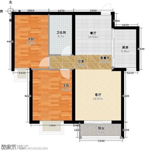 大连海湾城2室2厅1卫0厨97.00㎡户型图