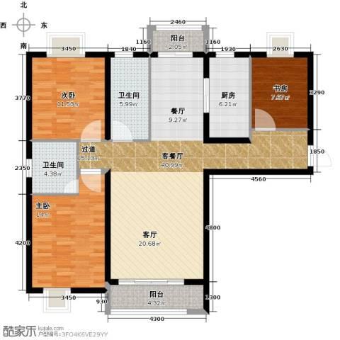 大连海湾城3室2厅2卫0厨138.00㎡户型图