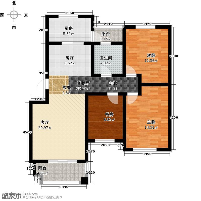 达美水岸113.00㎡C1户型3室2厅1卫