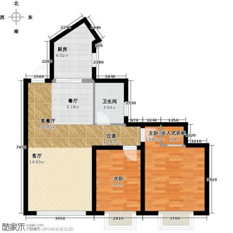 大连海湾城2室2厅1卫0厨93.00㎡户型图
