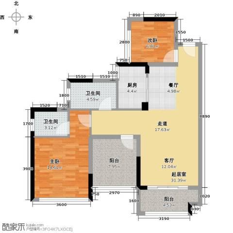 宏发上域花园3室1厅1卫0厨81.00㎡户型图