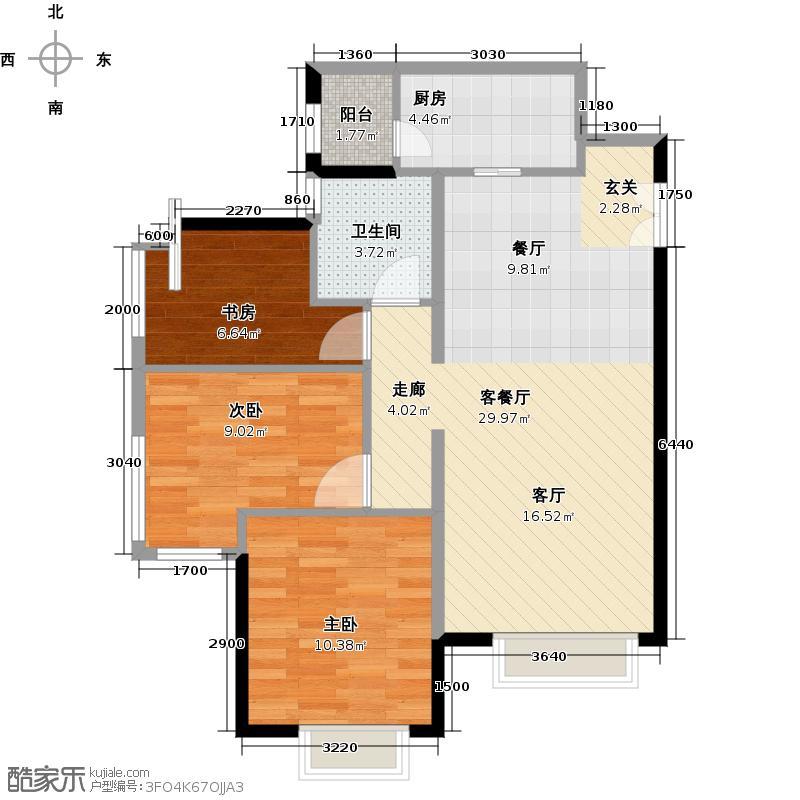 天津津南新城90.00㎡庭悦系B区12、13号楼标准层02户型3室1厅1卫1厨