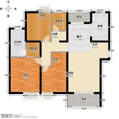 太湖国际社区3室2厅2卫0厨136.00㎡户型图