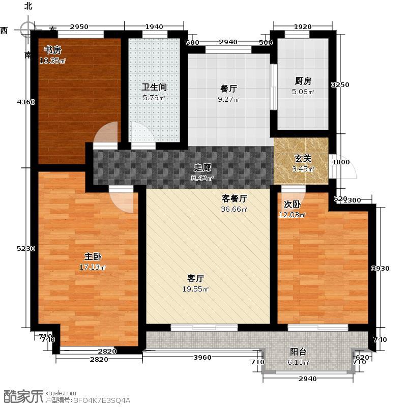 达美水岸117.00㎡户型3室2厅1卫