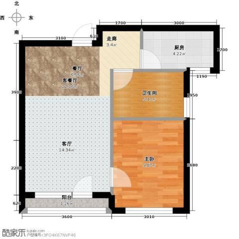 万棵树1室1厅1卫0厨56.00㎡户型图