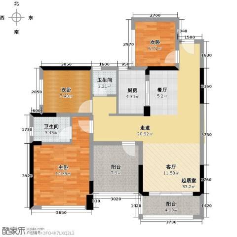 宏发上域花园4室2厅1卫0厨89.00㎡户型图