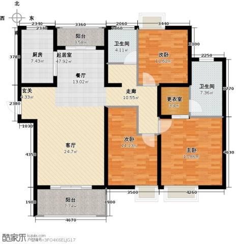 太湖国际社区3室2厅2卫0厨141.00㎡户型图