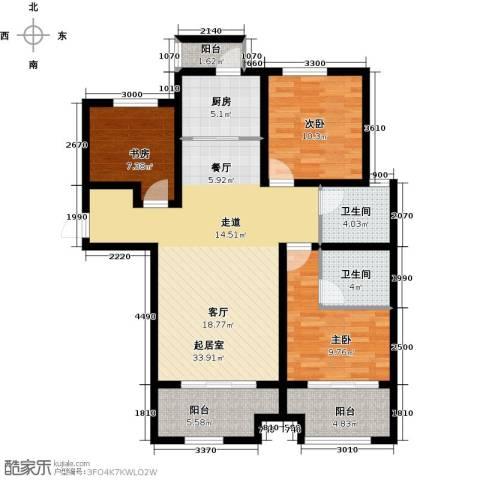 长九中心公园9号3室2厅2卫0厨120.00㎡户型图