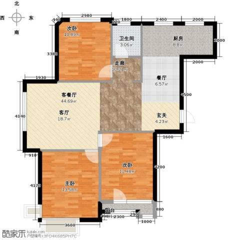 万棵树3室2厅1卫0厨111.00㎡户型图