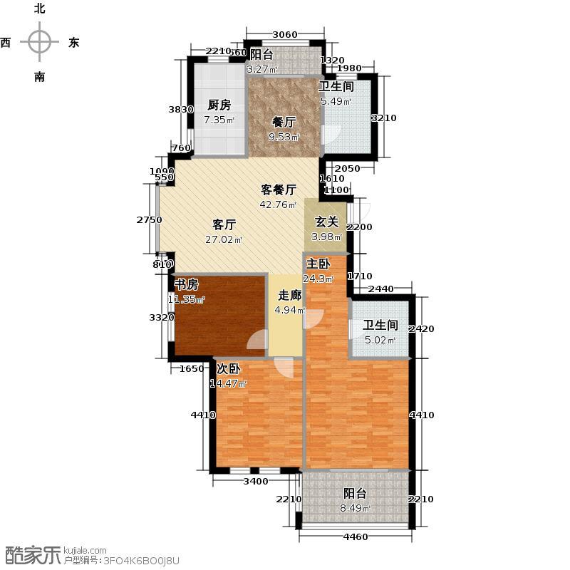 金色兰庭132.00㎡J户型3室2厅2卫
