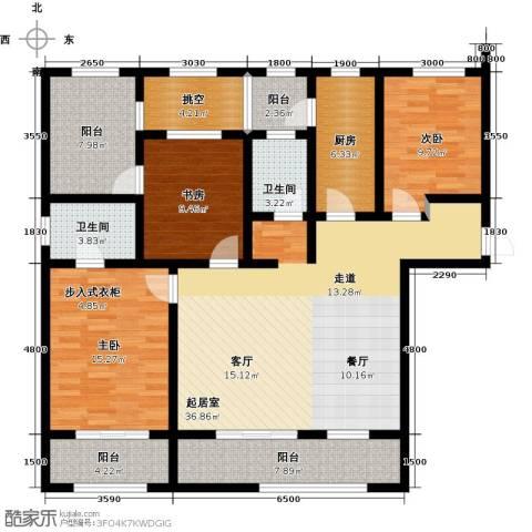 长九中心公园9号3室2厅2卫0厨137.00㎡户型图