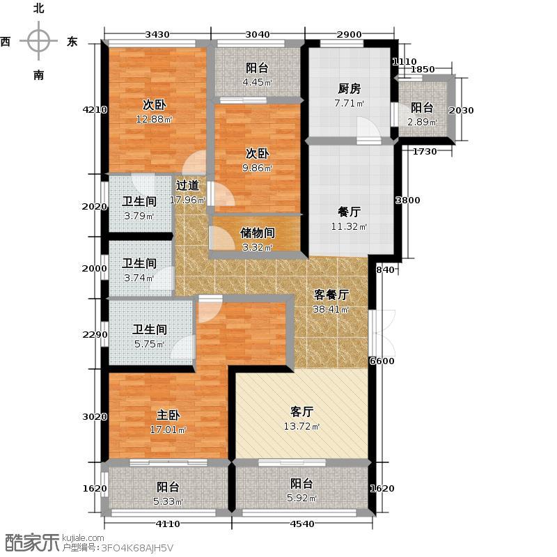 世茂玉锦湾163.70㎡D-1B户型3室2厅3卫