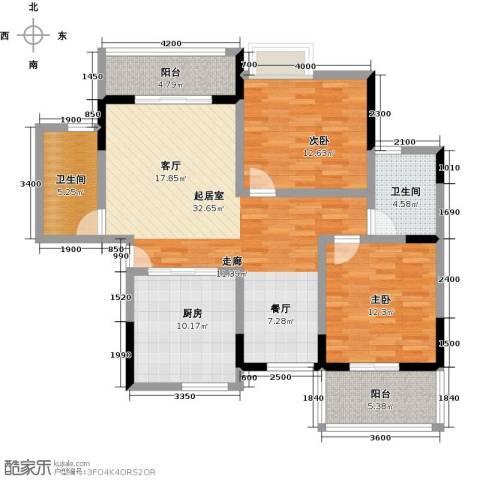 宝业家纺公寓2室0厅2卫1厨127.00㎡户型图