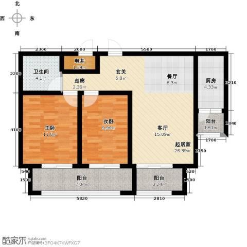 长九中心公园9号2室2厅1卫0厨87.00㎡户型图