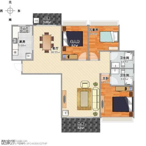丰泰城市公馆3室1厅2卫1厨109.00㎡户型图