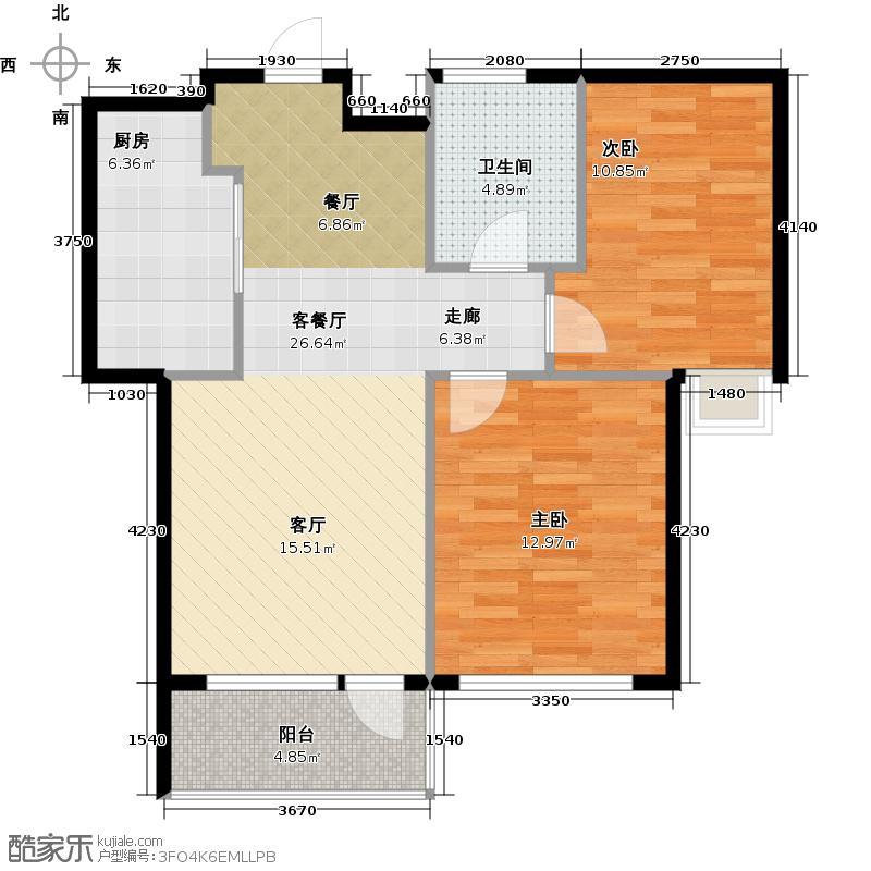 红星海世界观85.00㎡青屿蓝18#高层户型2室1厅1卫1厨
