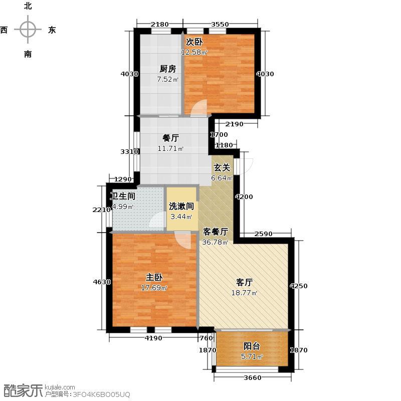 金色兰庭91.00㎡G户型2室2厅1卫