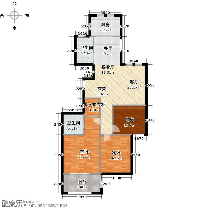 金色兰庭128.00㎡K户型3室2厅2卫