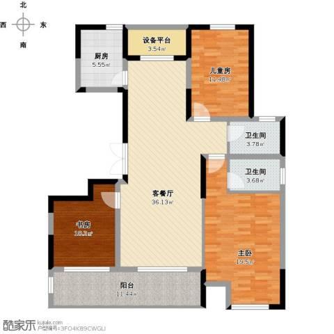 佳源名人公馆3室1厅2卫1厨150.00㎡户型图