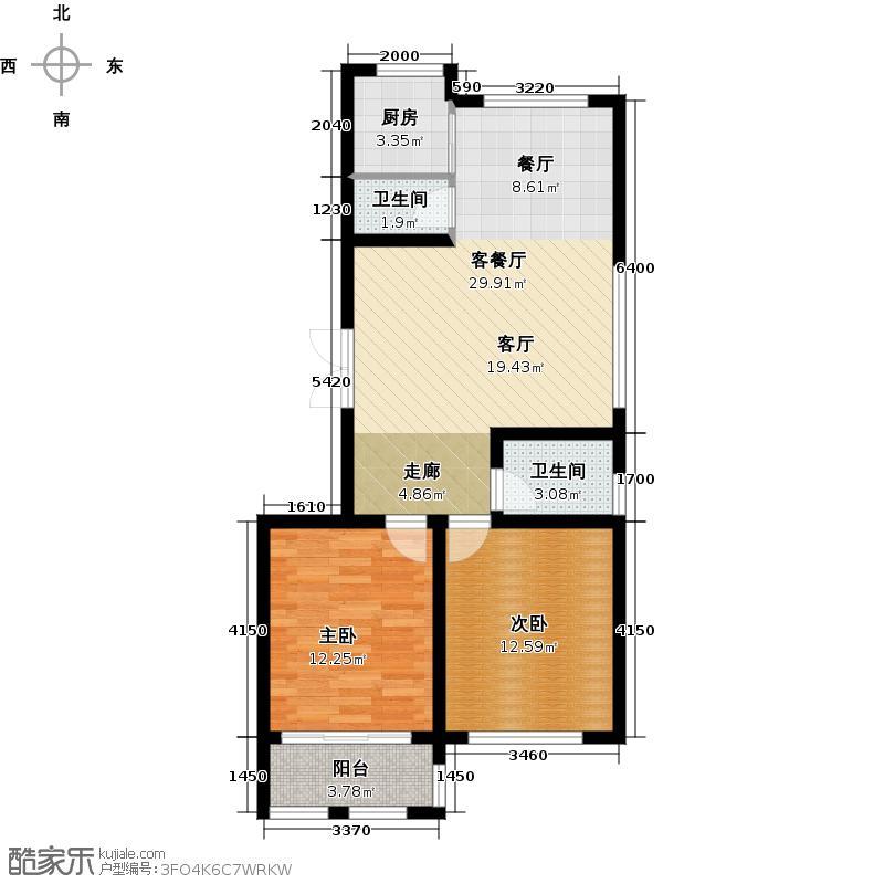 锦尚唐宁郡95.00㎡B户型2室2厅2卫