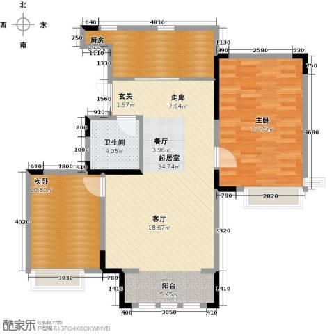 中交上东湾2室2厅1卫0厨110.00㎡户型图